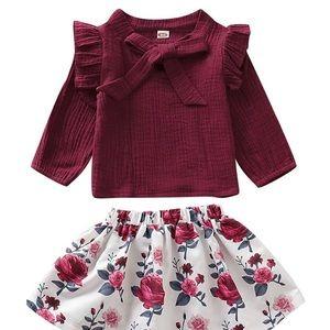 Girls Flutter Top & Floral Skirt Set
